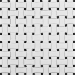 Michael S Smith Mosaic Basketeave Ceramic Tile - Ann Sacks Tile & Stone - This terrific black and white basketweave mosaic tile is ideal for a bathroom floor and looks wonderful with vintage fixtures and white subway tile on the walls.