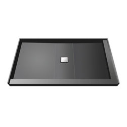 Tileredi - TileRedi WD3648CDR-PVC 36x48 Double Curb Pan Center Drain - TileRedi WD3648CDR-PVC 36 inch D x 48 inch W, fully Integrated Center PVC Wonder Drain with Right Dual Curb