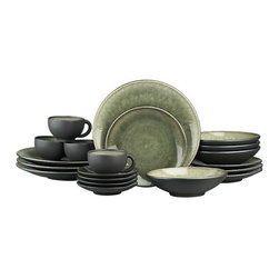 "Samoa 20-Piece Dinnerware Set - Earthy, Asian-inspired dinnerware is both chic and soothing in luscious, graduating hues of moss green. Minimal modern styling allows the color drama to take center stage. Unique shapes are both casual and elegant; the inviting reactive glaze ensures that no two pieces are exactly alike. Satin exterior finish has a ""cast iron"" appeal. Quality and integrity of design, only from one of France's original ceramic factories."