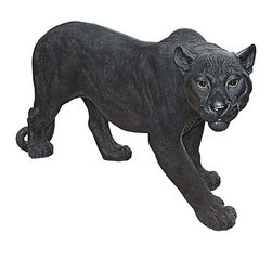 """EttansPalace - Exotic Black Panther Garden Statue - Your summer jungle garden will be labeled a dangerous exotic getaway when this sleek panther statue steps out to """"greet"""" your visitors! The heart of African wildlife is captured in our more than two-foot-long, garden predator Black Panther sculpture. Our artist has taken great care with the panther's credible pose and realistic eyes to create a fitting addition to your home or garden. This fiercely beautiful Black Panther garden statue is amazingly detailed, cast in quality designer resin hand-painted to herald the dark side of the jungle. This realistic exclusive Black Panther statue is on the prowl! Large: 33.5""""W x 10.5""""D x 15.5""""H. 13 lbs."""