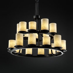 """Justice Design Group - Justice Design Group CLD-8767 Dakota 21 Light 2-Tier Ring Chandelier Cl - Justice Design Group CLD-8767 Dakota 21 Light 2-Tier Ring Chandelier from the Clouds CollectionThe Clouds Collection is the perfect choice for design applications that require a clean, """"soft-contemporary"""" look. With a composition of neutral color tones, this collection will add a warm ambient glow to any decor.From an elegant lamp atop a contemporary end table to a dramatic sconce illuminating a formal entryway, Justice Design offers a wide array of lighting solutions for residential and commercial settings. Create a mood, complement a theme, or simply add the perfect accent with a Justice Design decorative lighting fixture."""