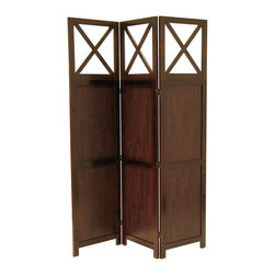 """Winsome Wood - Winsome Wood Storage X-37649 - Bergen X top, 3-Panel all wood room divider is finished in warm Walnut color with all wood framed. It is finished on both sides, folds flat for storage and transport.  Create privacy in an instant.  Overall open size is 52.44""""W x 0.79""""D x 70""""H.  Folded is 17.4""""W x 2.3""""D x 70""""H.  Each screen panel is 17.48""""W."""