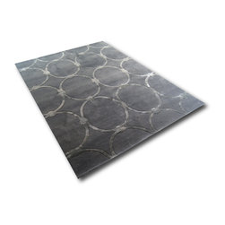 Signature Style - Rome Design, Pure NZ Wool Rug, Beige Color 6 x 8 Ft., Charcoal - HandTufted NZ Wool Rug