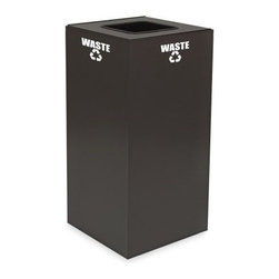 Witt Industries Geo Cubes 32 Gallon Slate Recycling Bin - Take the first step to starting a recycling program at work with the Witt Industries Geo Cubes 32 Gallon Slate Recycling Bin. Designed to be compact this bin not only fits almost anywhere but its classic slate color is perfect for the board room or break room. Made from fire safe steel for durability the bin includes decals to clearly mark its use. Just decide what you want to recycle and choose your lid style. Different lids work with different materials. This recycling bin holds up to 32 gallons of recyclables and measures 15L x 15W x 32H.About Witt IndustriesWith its rich and established history in the steel waste receptacle manufacturing industry that dates back to 1887 Witt Industries has been in the forefront with its innovation quality and service. The company's founder George Witt invented and patented the first corrugated galvanized ash can and lid back in 1889 and the company has never looked back. Today Witt Industries is part of the Armor Metal Group and is a woman-owned business.