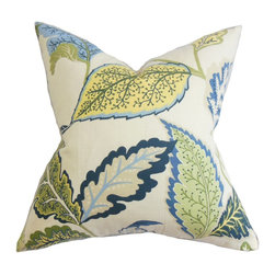 The Pillow Collection - Xelomina Floral Pillow Blue Green - Let this nature-inspired decor pillow do its wonders in your home. This fancy accent pillow will totally transform your living room, bedroom or any room into a relaxing haven. Printed with a refreshing floral pattern in colors of green, blue, yellow and natural on a white background. This throw pillow easily blends with solids and other patterns. Made from high-quality materials: 95% cotton and 5% linen. Hidden zipper closure for easy cover removal.  Knife edge finish on all four sides.  Reversible pillow with the same fabric on the back side.  Spot cleaning suggested.