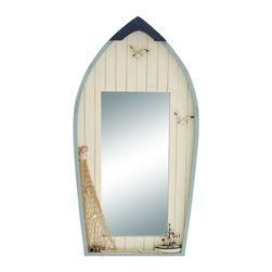 Benzara - Seaside Nautical Row Boat Mirror decor With Fishing Net - There's nothing like a refreshing piece of decor like this innovative row boat shaped mirror. For all those who love the sea and love the harbor, this decor features a top view of a row boat with a handy mirror in the center. This lovely mirror decor as a fresh ocean breeze to any area of your home.