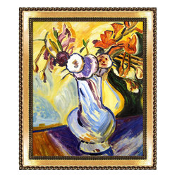 "overstockArt.com - Maurer - Flowers in a White Vase - 20"" X 24"" Oil Painting On Canvas Another exciting example of Fauvism; this circa 1910 still life Flowers in a White Vase gives the unique perspective of the painter showing the world the incredible skill in which Maurer was capable of seizing ordinary subject matter and turning it into a work of art. This enduring portrait of flowers in vase will add a burst of color to any room. Alfred Henry Maurer (1868 - 1932) was an American painter. He exhibited his work in Avant-garde circles internationally and in New York City during the early twentieth century. Highly respected today, his work met with little critical or commercial success in his lifetime. Having the distinction of being America's first modernist, Maurer experimented with many styles until settling into contemporary expression believing the overall perception of work was more important than the finer details. Above all, Maurer declared color arrangement to be the most important element in composition. He also believed art could not completely imitate nature, but nature could be intensified in art lending to his love and use of vivid color. Although much of Maurer's works are privately held, many are included in the collection of the Carnegie Museum of Art, the Chicago Art Institute, the Whitney Museum of American Art, and countless other across the nation."
