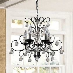 None - Messina 5-light Wrought Iron and Crystal Chandelier - Finished in gorgeous black, this chandelier is a great addition to any lighting design. The chandelier base is constructed of sturdy iron to ensure a long lasting illuminating centerpiece for your decor.