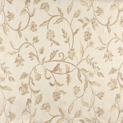 Ivory Embroidered Floral Brocade Upholstery Fabric By The Yard - This beautiful traditional brocade fabric is luxury at its finest. This fabric is very durable while also providing the look of elegance to any space.