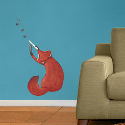 My Wonderful Walls - Musical Fox Wall Decal - Repositionable Sticker, Small - - Musical Fox graphic by Laura González