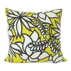 The Pillow Studio - Yellow and Grey Flower Kalaheo Indoor Outdoor Pillow Cover - This fabric is a graphic, modern take on a floral pattern; it provides a bit of olor and fun outdoors (or in)