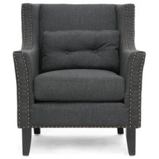 Armchairs And Accent Chairs Albany Dark Gray Linen Modern Lounge Chair