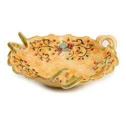 Artistica - Hand Made in Italy - Primavera: Fruit Plate - Primavera: This product is part of our all new Primavera collection featuring a delicate design of spring (primavera) flowers over a new sponged base hand painted in a warm yellow tone.