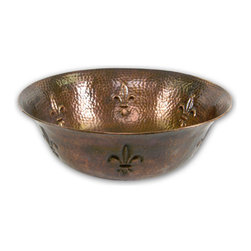 Houzer - Houzer HW-TEL1V Telluride Antique Copper Undermount Sink - Houzer bathroom Hammerwerks Copper Fleur Di Lis Lavatory Vessel Sink (no trim ring required)