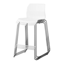 Marcus Arvonen - GLENN Bar stool - Bar stool, white, chrome plated