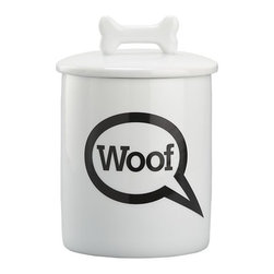 """Woof"" Treat Jar - Every time your favorite dog owner makes a move toward this jar, his dog will go absolutely bonkers with glee and anticipation – be sure to warn him about that before he chooses where to display it! BONUS DETAIL: The handle is shaped like a Milk Bone - throw a box of those inside before wrapping this up."