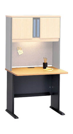 Bush Business - 36 in. Desk - Series A - The perfect size desk for a home office, your library or study room.  This desk is small enough to fit almost anywhere without looking crumpled or out of place, but strong enough to handle daily office work as well as a variety of office equipment, such as a computer and/or printer.  This small office desk also offers more then ample leg room to ensure the comfort of those who spend more then a few hours working at it. * Diamond Coat� top surface is scratch and stain resistant. Steel insert in molded feet w levelers. Top and leg wire access/concealment. More leg room with C-leg design. PVC edge banding. Beech finish. 35.590 in. W x 26.811 in. D x 29.764 in. H