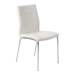 Eurostyle - Eurostyle Cyd Leatherette Side Chair w/ Chromed Steel Base in White [Set of 4] - Leatherette Side Chair w/ Chromed Steel Base in White belongs to Cyd Collection by Eurostyle The marvelous CYD Side Chair brings a beautiful modern look to any decor. This contemporary faux leather chair combines a soft foam padded seat and back with a durable steel base. An accent chair both elegant and versatile, it is sure to make a great addition to your living room, dining room or office space. Created with your comfort in mind, this piece features a progressive seating concept. It is made of leatherette and chromed steel. The set includes 4 (four) chairs. Comes in white. Assembly level/degree of difficulty: Easy. In the event of a return this item is subject to a restocking fee. Side Chair (4)