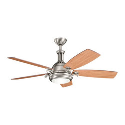 "DECORATIVE FANS - DECORATIVE FANS Saint Andrews 52"" Contemporary Ceiling Fan X-PA531003 - The Antique Pewter finish of this Kichler Lighting ceiling fan gives it a hint of clean industrial styling that perfectly compliments the smooth contemporary lines and details. From the Saint Andrews Collection, it also features reversible cherry fan blades and an etched cased opal glass shade."
