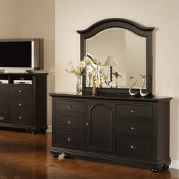 None - Napa Black Dresser and Mirror - This beautiful hardwood black cottage dresser with mirror and pewter hardware makes a stunning addition to any bedroom in your home. With six drawers and a storage cabinet,this dresser offers plenty of room for your entire wardrobe.