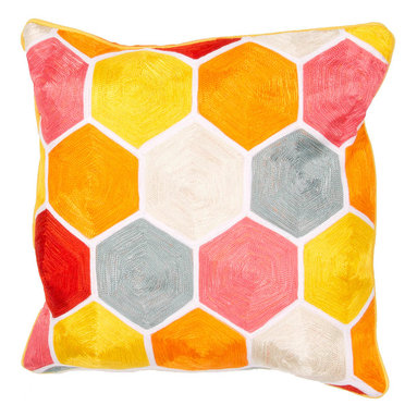 """Jaipur Rugs - Multi color cotton encasa05 poly fill pillow 18""""X18"""" - En Casa is the design collection of Cuban born, Queens, NY raised painter and surface designer, Luli Sanchez. This collection is based off of her painterly works of art that capture an organic and moody yet optimistic spirit. Her geometric paintings were truly inspiring for this pillow collection."""