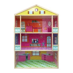 Fortune East Giant 3-Story Dollhouse - The Fortune East Giant 3-Story Dollhouse is oversized fun your little girl will love. This multi-colored dollhouse is constructed of durable wood that is built to last. With plenty of space for 11.5-inch fashion dolls having the room to invite friends to play along is easily granted. Recommended for children ages three and up. About Fortune EastSince 2002 Fortune East has been developing innovative products that allow children to experience beneficial play with activities that provide limitless joy imagination and creativity. This company specializes in designing and manufacturing high-quality wooden preschool toys wood and cardboard dollhouses along with furniture and accessories. Fortune East has established relationships with reliable manufacturers and only works with factories that pass the highest ethical and quality control audits laid down by the top retailers around the world. All items Fortune East produces are in accordance with or exceed European and US standards.