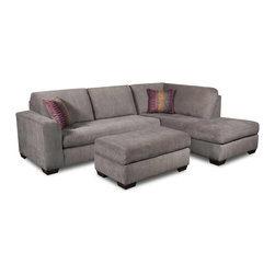 Chelsea Home Furniture - Chelsea Home Almeda 2 Piece Sectional in Heather Seal - Mood Plum Pillows - Mechanism or Special Decorative Features Includes toss pillows as shown, Fabric Swatch Fabric Samples Avaliable by Mail, Cover Choices Heather SealMood Plum pillows, Seating Comfort Medium, Frame Construction The frames are constructed with all solid kiln dried hardwoods and engineered wood products  The stress points are reinforced with blocks to secure a long lasting frame, Spring System The sinuous springing system is manufactured with a reinforced 16 gauge border wire to maintain a uniform seating  Double springs are used on the ends nearest the arms to give balance in the seating, Cushion Composition Cushions are made from hidensity foam cores with Dacron polyester wrap to provide longer life All cushions are made with zippers, Fabric 100 poly, Left Side Facing Loveseat 1, Right Side Facing Chaise 1