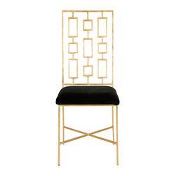 Worlds Away - Worlds Away Gold Leaf Dining Chair with Black Velvet Seat DAVID GBLACK - Gold leaf dining chair with black velvet seat