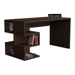 DECORTIE - AARON WORKING DESK / OFFICE TABLE, Wenge - Effortless sophistication, the Aaron office table balances minimal design and practicality beautifully. It features a modern S shape shelf structure, perfect for storing books, files, stationery and more. A smooth wide workspace allows plenty of space for you to be productive.