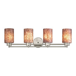 Design Classics Lighting - Satin Nickel Modern Bathroom Light with Brown Art Glass - 704-09 GL1016C - Contemporary / modern satin nickel 4-light bathroom light. A socket ring may be required if installed facing down. Takes (4) 100-watt incandescent A19 bulb(s). Bulb(s) sold separately. UL listed. Damp location rated.