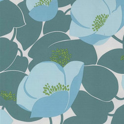 Amy Butler Poppy Wallpaper in Cornflower - Large scale poppies will make walls look like a blooming meadow.