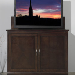 "Sonoma TV Lift Cabinet for flat screen TV's up to 46"" - Parquet inlaid detailing. Space-conscious mentality. Refreshed with new nickel handles and hidden European hinges, the popular Sonoma is elevated into a contemporary showpiece. The updated Sonoma cabinet is perfect for interiors that demand a small foot print without compromising ample storage and seamless operation."