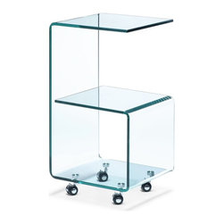 Zuo Modern - Zuo Modern Trek Modern Side Table X-601404 - Made from a solid piece of semi-tempered glass, the Trek side table is chic and functional. Higher than most side tables, the Trek is perfect for larger sofas or armchairs. Table comes with four casters for ease of movement.
