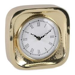 "Imax - Essentials Celebrations Gold Table Clock - *Dimensions: 7""h x 7""w x 3"""