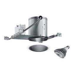 Juno Lighting Group - 6-inch Recessed Lighting Kit with 15-Watt Led Bulb - IC22/24B-WH LED PAR30 - Black, tapered baffle interior with white trim and housing which can be covered with insulation. This recessed lighting kit features an air-tight installation that stops the infiltration and exfiltration of air, which reduces heating and cooling costs. The black tapered baffle interior has a 5-3/8-inch aperture and a white trim ring. Features a medium base with white diffuser and vented heat sink. Takes (1) 15-watt LED PAR30 bulb(s). Bulb(s) included. Dry location rated.