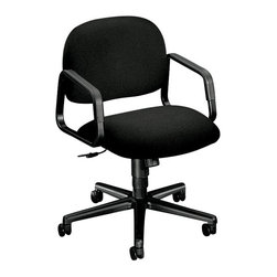 Hon - Solutions Mid-Back Chair - Follow your basic instincts. This mid-back task chair swivels and rolls on sturdy casters. The padded seat can be raised so long legs have plenty of room. And it comes at a killer price.