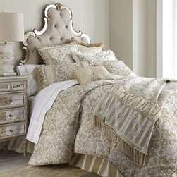 "Austin Horn Classics - Austin Horn Classics Standard Floral Sham with Silk Ruffle - Eggshell tones, opulent trims, and silk dupioni enhance the elegance of ""Sophia"" bed linens. Crafted in the USA of imported and domestic polyester/viscose and silk fabrics. Dry clean. By Austin Horn Classics. Hand-quilted floral comforters of polyeste..."