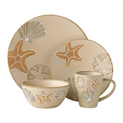 Pfaltzgraff - Pfaltzgraff Everyday Sandy Shore 16-piece Dinnerware Set - Bring the fun of the seaside to your table with this 16-piece dinnerware set from Pfaltzgraff. These delightful dishes are both dishwasher and microwave safe,and your guests will be charmed by the shells and seastars  against the beige background.