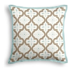 Tan & Aqua Quatrefoil Trellis Custom Throw Pillow - The Tailored Throw Pillow is an updated, contemporary pillow style with the center fabric framed by a thin contrast flange.  Voila!-it's artwork for your couch! We love it in this seafoam and taupe quatrefoil pattern on a soft sateen reflects the essence of classic Moroccan tilework.