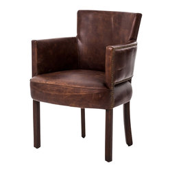 Marco Polo Imports - Rockefeller Arm Chair - Inspired by the libraries of Turn of the Century American aristocracy, this leather arm chair is timelessly elegant. Made from the finest, top-grain, aniline-dyed leather and an eight-stage hand-aging process that epitomizes quality craftsmanship.