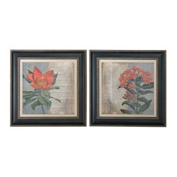 Uttermost - Uttermost 41385 Vintage Fleur Rouge Floral Art, Set of 2 - Uttermost 41385 Vintage Fleur Rouge Floral Art, Set of 2Wooden frames have a black base coat with medium gray wash accented by bronze undertones and heavy gray wash on outer edges. Inner lips have bronze undertones with brown and black wash and a heavy gray glaze. Prints are surrounded with off-white linen linesUttermost 41385 Features: