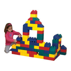 edushape - Edu Blocks Toy Set - Giant interlocking, soft blocks are ideal for small hands. Lightweight, durable and washable, the Edu Block childrens building set has everything for hours of creative, stimulating play. This unique block collection grows with your child, as they go from designing squares to designing play forts! Features: -Available in 26 or 50 piece sets -Interlocking blocks in Red, Yellow, Green and Blue -Recommended for all ages -Durable and washable -Enhances coordination -Develops gross motor skills -Life time warranty