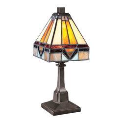 Quoizel Lighting - Quoizel TF1021TVB Holmes Tiffany Vintage Bronze Table Lamp - 1, 25W B10 Candelabra