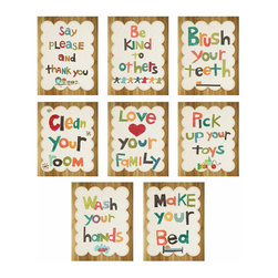 Rebecca Peragine Inc / Children Inspire Design - Good Manners 5x7 Children's Set of Eight Wall Cards - Teach your child the importance of manners and respect with these vintage modern wall cards. Designed for the child's eye, these cards can be framed or used as flash cards.   Set of eight 5x7 wall art cards. The set of 8 wall cards comes on a wood looking place holder. You can take the picture off of those as the wood can be disposable(part of the packaging).