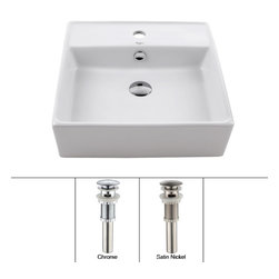 Kraus - Kraus White Square Ceramic Sink and Pop Up Drain with Overflow Satin Nickel - *Add an elegant touch to your bathroom with a Kraus ceramic washbasin