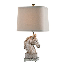 Uttermost - Uttermost Rathin Horse Lamp - Rathin Horse Lamp by Uttermost Crackled Ivory Ceramic With A Dark Brown Glaze And Acrylic Foot. The Slightly Tapered, Rectangle Hardback Shade With Curved Corners Is A Beige Linen Fabric With Natural Slubbing.
