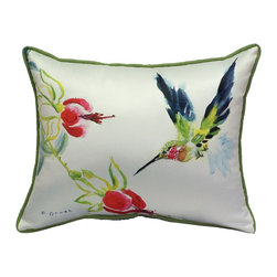 Betsy Drake Interiors - Betsy Drake Betsy's Hummingbird Indoor-Outdoor Pillow - Use Indoors Or Outdoors.  Brightens Up Any Room Or Patio Or Garden. Fade Resistant, Tough And Durable.  Spot Clean With Soap And Water.