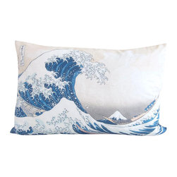 Poetic Pillow - The Great Wave Off Kanagawa Hokusai Pillow - Transform any space with a pillow from Poetic Pillow. Each pillow is inspired by fine works of art and printed on the front and back.   Covers are made of pre-shrunk satin-like polyester fabric. All seams are finished to prevent fraying and pillow covers have a knife edge finish.. A concealed zipper allows for ease of inputting pillow inserts.  A duck feather insert is included for soft yet supportive feel.  Cushion inserts are encased in a cotton cover and filled with 100% duck feather.  All research, design and packaging is completed in Oakland, California.