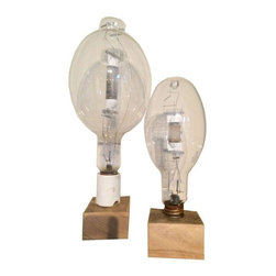 Used Vintage Industrial Light Bulbs on Stand - A Pair - Let this sculptural pair of vintage industrial light bulbs light up your space with industrial charm. Once installed in a dark factory, now mounted on natural wood stand for your enjoyment. These sculptural elements were originally purchased in High Point, NC.