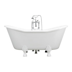 The Tub Studio - 'BELLINI' CoreAcryl WHITE Acrylic French Bateau Clawfoot Tub Package - Product Details